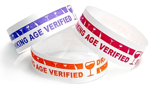 Drinking Age Verified Design Tyvek Wristbands