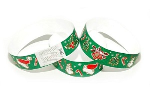 Season Greetings Green Tyvek Wristbands